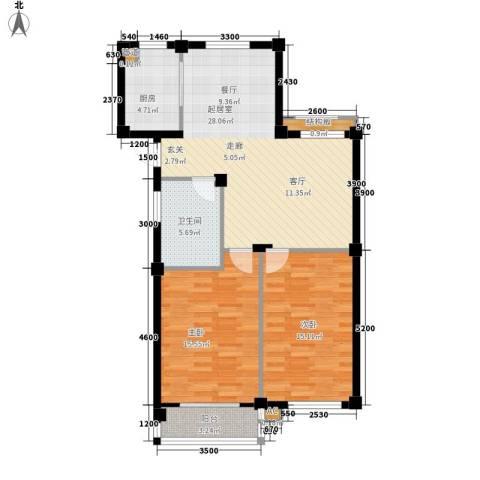 桃源东湾2室0厅1卫1厨96.00㎡户型图