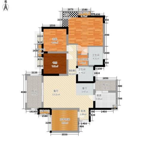 绿地翠谷勃朗廷3室1厅2卫1厨113.00㎡户型图