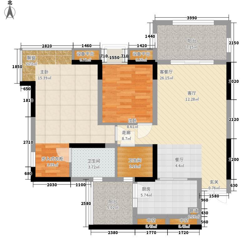 绿地翠谷勃朗廷83.12㎡标准层01面积8312m户型