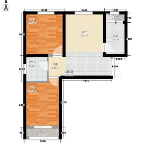 天和湾2室0厅1卫1厨74.00㎡户型图