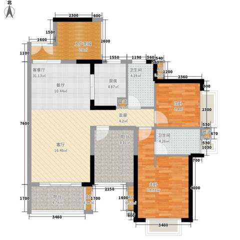 星河盛世2室1厅2卫1厨101.87㎡户型图
