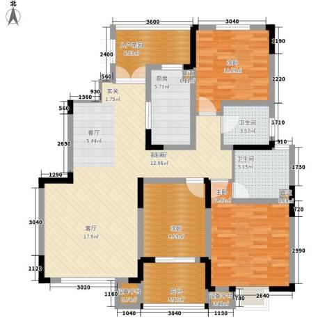 骏浩华庭3室1厅2卫1厨134.00㎡户型图