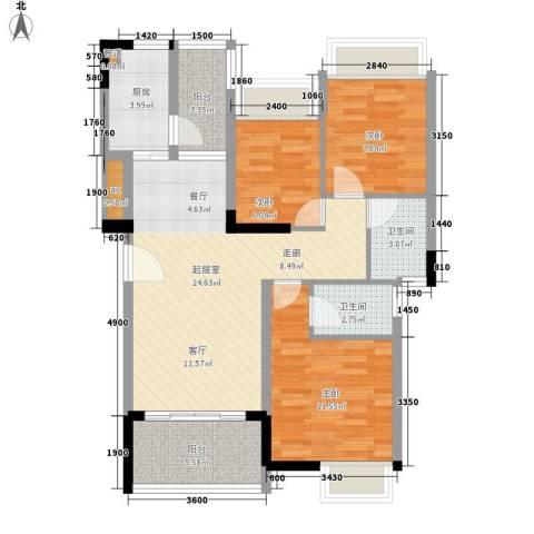 大翼龙苑3室0厅2卫1厨90.00㎡户型图
