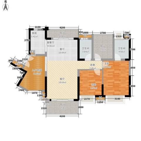 星河盛世2室1厅2卫1厨119.87㎡户型图
