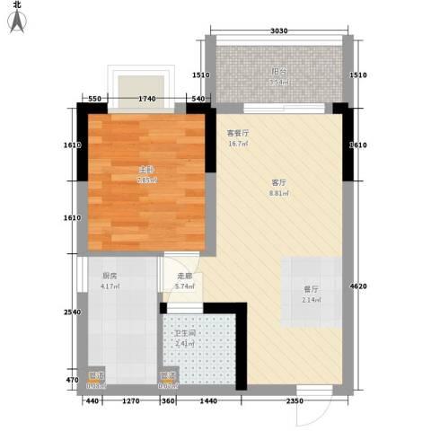 温馨家园1室1厅1卫1厨51.00㎡户型图