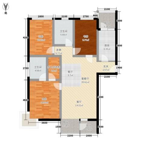 黄金堡学府小区3室1厅2卫1厨137.00㎡户型图