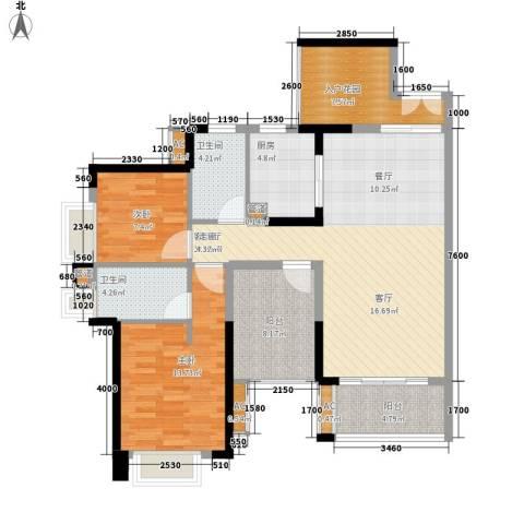 星河盛世2室1厅2卫1厨101.70㎡户型图