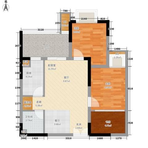 康德城市风云3室0厅1卫1厨67.00㎡户型图