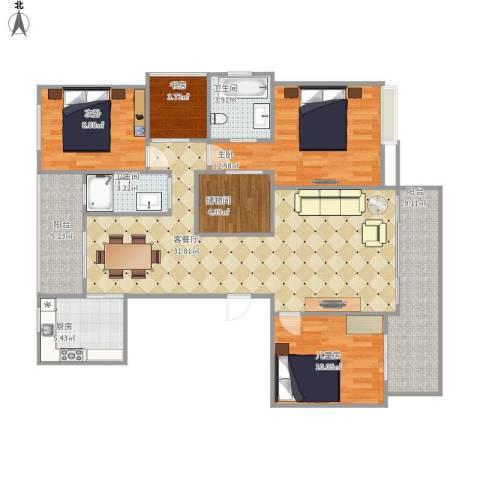 融创�园4室1厅2卫1厨135.00㎡户型图