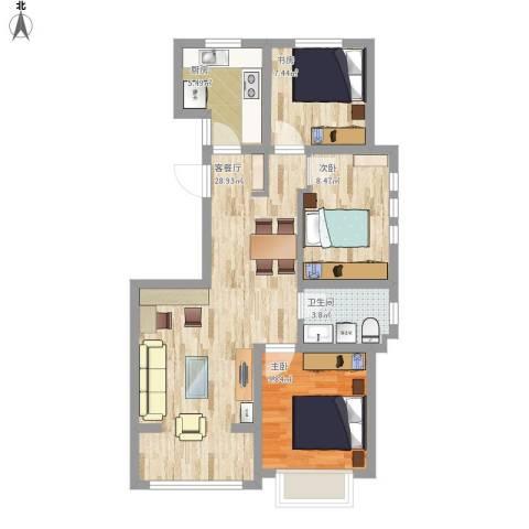滨湖御景湾3室1厅1卫1厨93.00㎡户型图