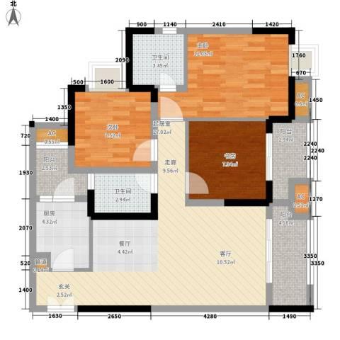 康德城市风云3室0厅2卫1厨83.00㎡户型图