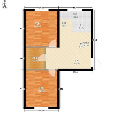 意利黄海明珠2室0厅1卫0厨90.00㎡户型图