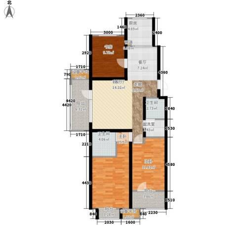 锦绣天地3室1厅2卫1厨126.00㎡户型图