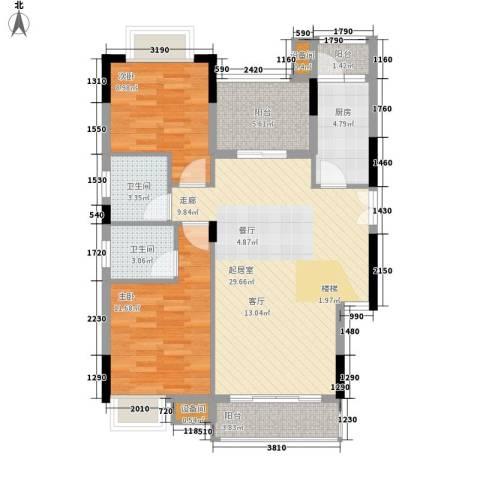 康田紫悦府2室0厅2卫1厨118.00㎡户型图