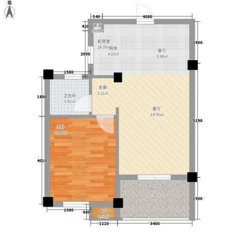 桃源东湾1室0厅1卫0厨58.00㎡户型图