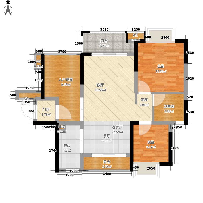 星河盛世88.52㎡一期1B栋01单元2室户型