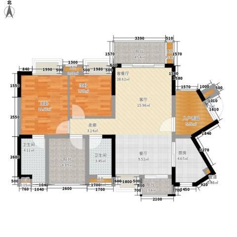 星河盛世2室1厅2卫1厨94.12㎡户型图