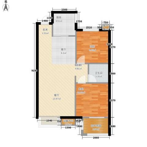 金洋石河湾2室1厅1卫1厨86.00㎡户型图