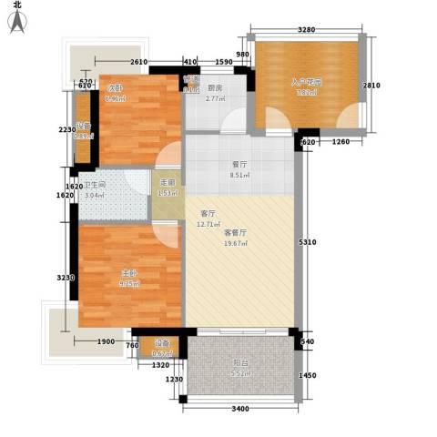 御河观景台2室1厅1卫1厨65.00㎡户型图