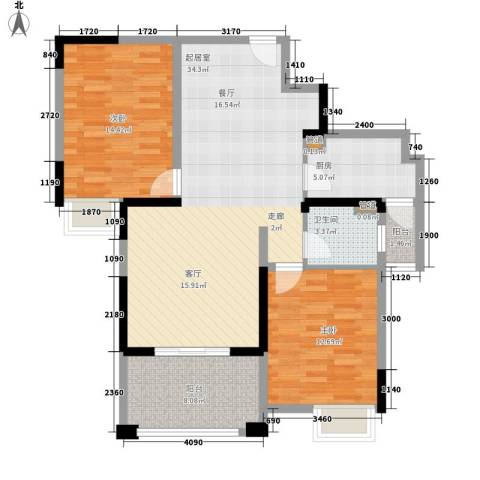 伴山壹品2室0厅1卫1厨91.00㎡户型图