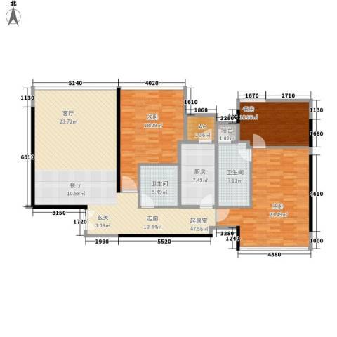 华贸国际公寓3室0厅2卫1厨136.00㎡户型图