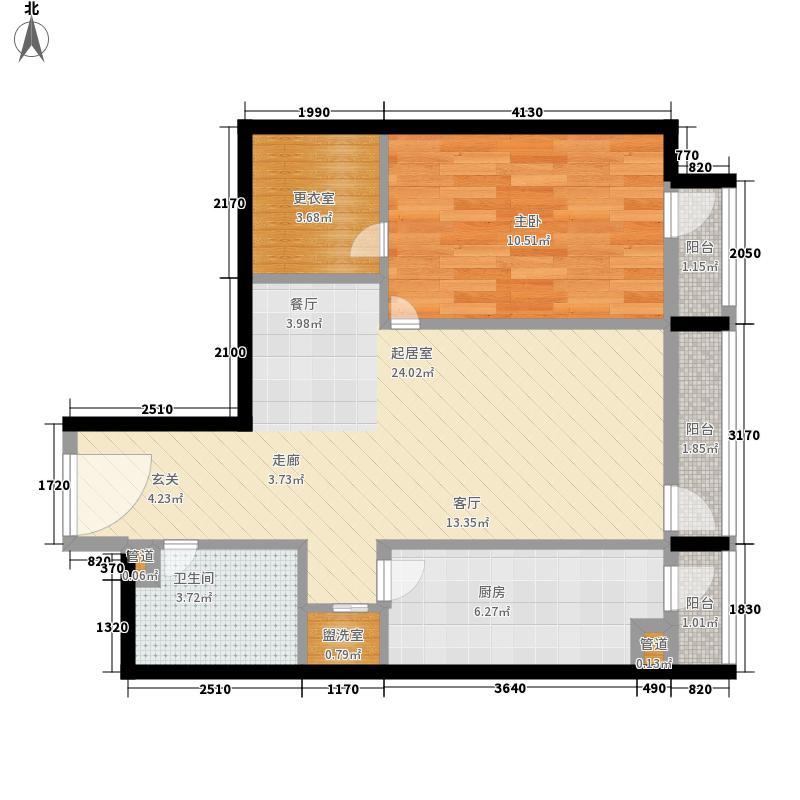 华贸国际公寓64.96㎡e_081面积6496m户型