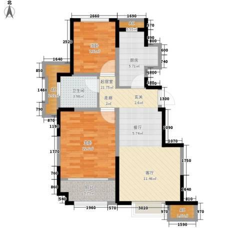 旭辉澜郡2室0厅1卫1厨84.00㎡户型图