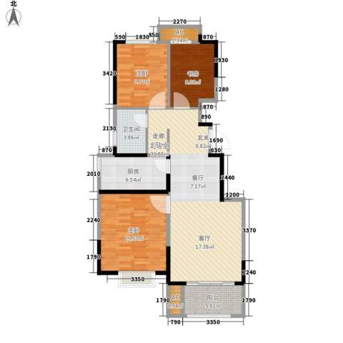 旭辉澜郡3室0厅1卫1厨90.00㎡户型图