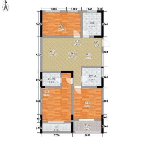清华名家3室0厅2卫1厨116.00㎡户型图