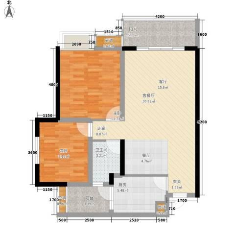 黄金堡学府小区2室1厅1卫1厨89.00㎡户型图