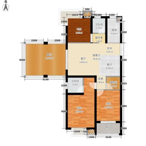 正益育龙湾3室1厅2卫1厨111.00㎡户型图