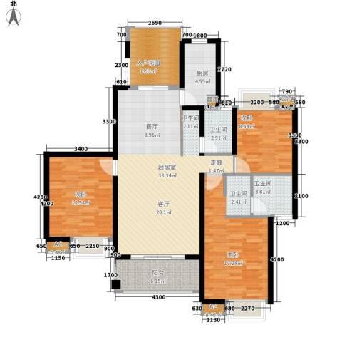 湘江世纪城3室0厅2卫1厨140.00㎡户型图