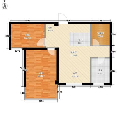启明星座2室1厅1卫1厨80.00㎡户型图