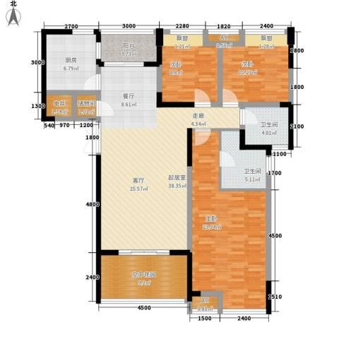 锦江帆影3室0厅2卫1厨113.92㎡户型图