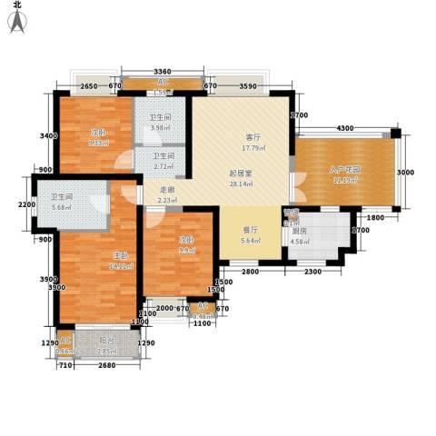 湘江世纪城3室0厅2卫1厨120.00㎡户型图