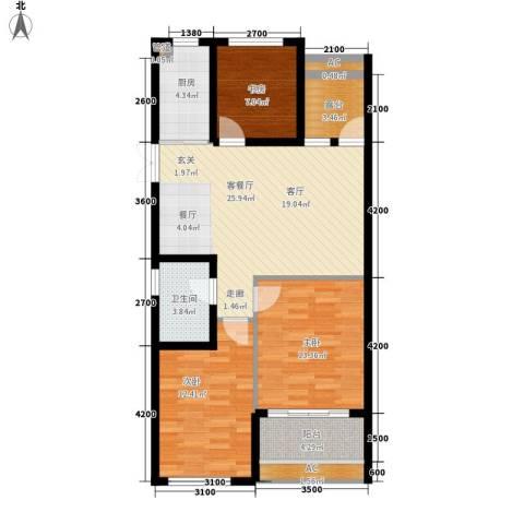 正益育龙湾3室1厅1卫1厨89.00㎡户型图