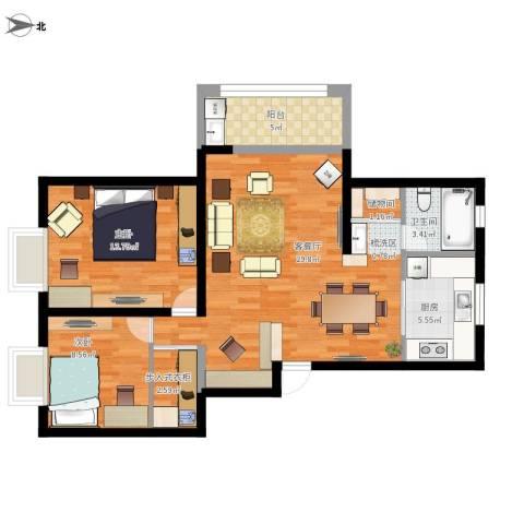 盛世虹桥二期2室1厅1卫1厨100.00㎡户型图