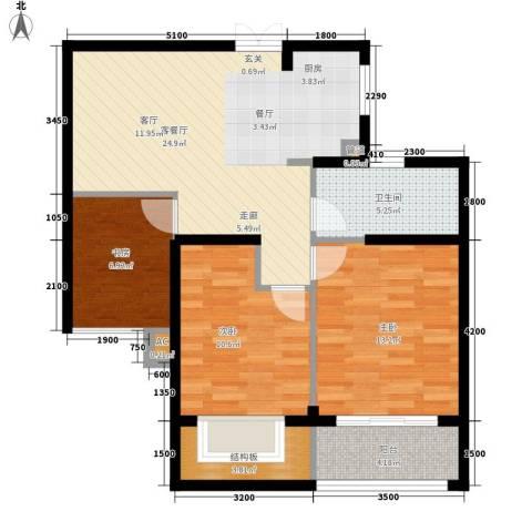 正益育龙湾3室1厅1卫0厨82.00㎡户型图
