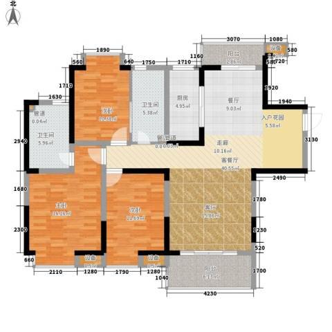 绿辰公元赏3室1厅2卫1厨148.00㎡户型图