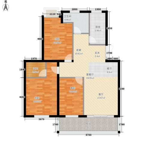 咸亨佳苑3室1厅1卫1厨114.00㎡户型图