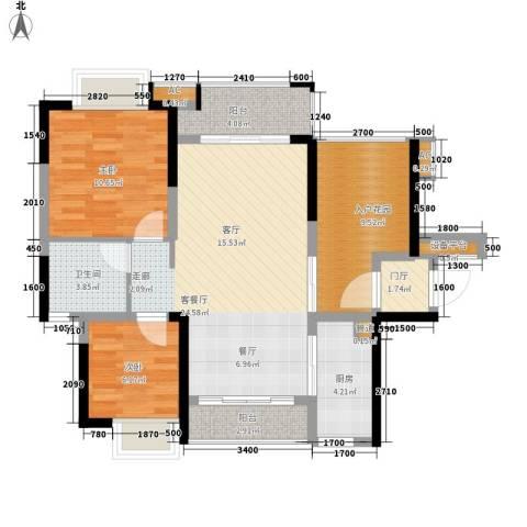 星河盛世2室1厅1卫1厨81.25㎡户型图