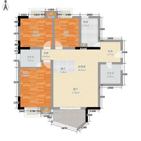 港城静园3室0厅2卫1厨104.00㎡户型图