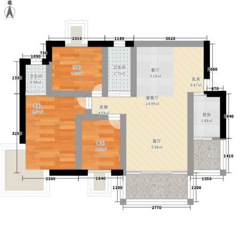 玲珑雅居3室1厅2卫1厨42.00㎡户型图