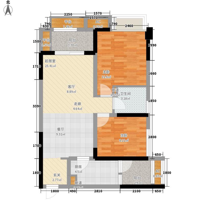 万科城万科嶺峰T6C户型2室2厅