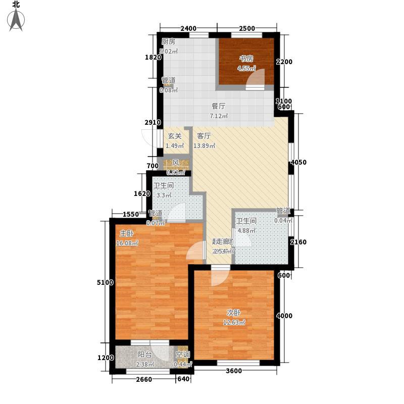 万盛理想国102.00㎡三期红堡J户型图户型3室2厅2卫