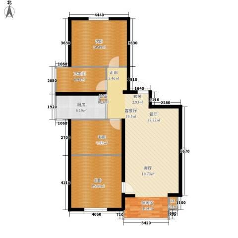 城市花园3室1厅1卫1厨128.00㎡户型图