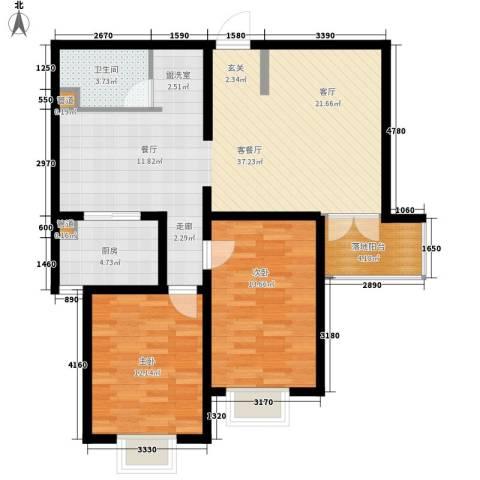 城市花园2室1厅1卫1厨109.00㎡户型图