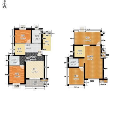 嘉恒・格林恬园2室1厅2卫1厨160.00㎡户型图