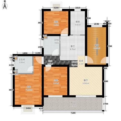 嘉恒・格林恬园3室1厅2卫1厨135.00㎡户型图