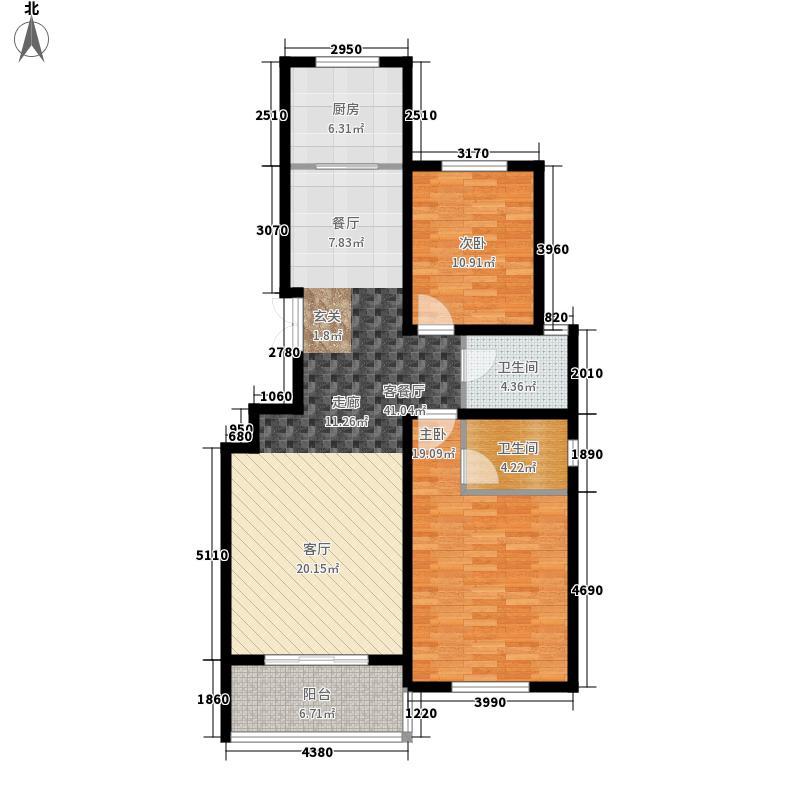 凤凰城108.00㎡花园洋房C1户型2室2厅2卫